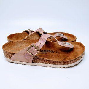 Birkenstock Pink Metallic Thong Sandal Shoes - 39